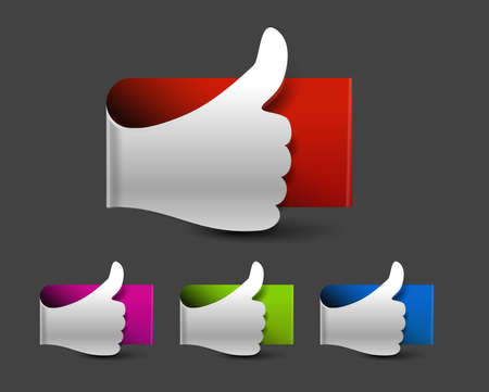 thumb up like label design. Vector.  Stock Vector - 12491264