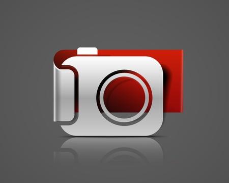 camera icon: vector glossy camera web label icon design element.