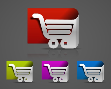 retail equipment: shopping cart icon, shopping basket design- vector illustration  Illustration
