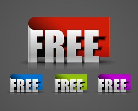 free vector: Curls free trial labels design element. Vector.  Illustration