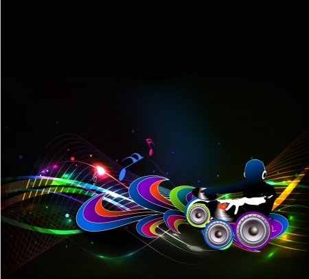 electronic music: Abstract illustration of an dj man playing tunes with music note background