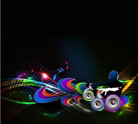 electronic music: Abstract illustrazione di un uomo dj a suonare canzoni con la musica di sottofondo nota