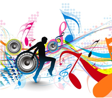 disco girls: abstract music notes design for music background use, vector illustration  Illustration