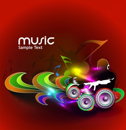 Abstract illustration of an dj man playing tunes with music note background   Vector