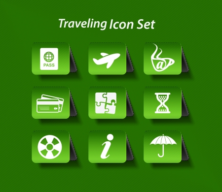 Travel web icon set Vector