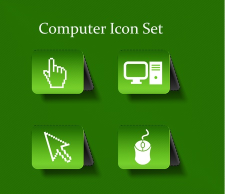 Electronic computer icon set. Internet Button  Vector