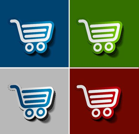 add to shopping cart icon: On-line shopping web icons, template, label design.