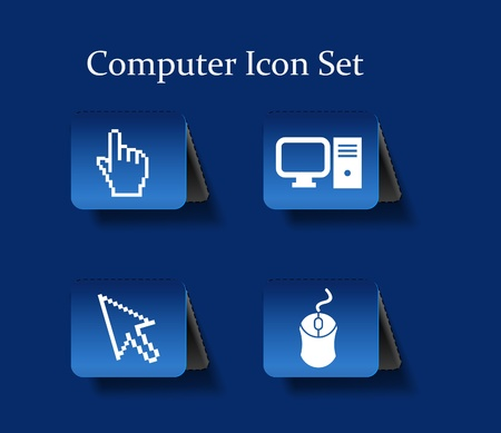 Electronic computer icon set. Internet Button illustration.  Vector
