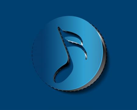 music note icon on sticker design.  Vector