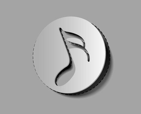 music note icon on sticker design.  Vector