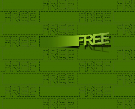 largess: free trial labels vector text on button. Isolated on green.  Illustration