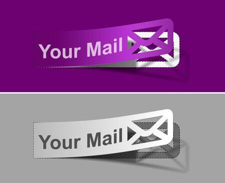 webmail: Set of Email label graphics for web layout design.