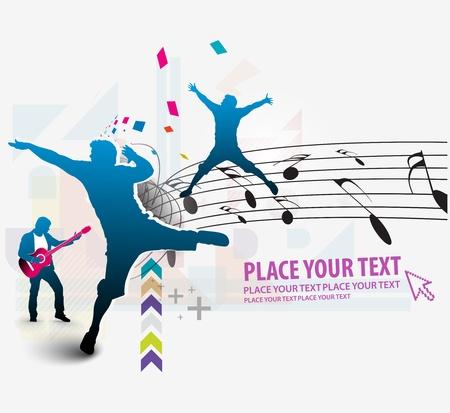 Astratto ballare musica di sottofondo per la progettazione evento musicale. illustrazione.