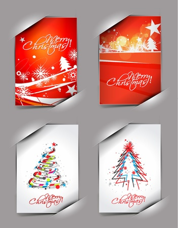 set christmas greeting card with presentation design.  Vector