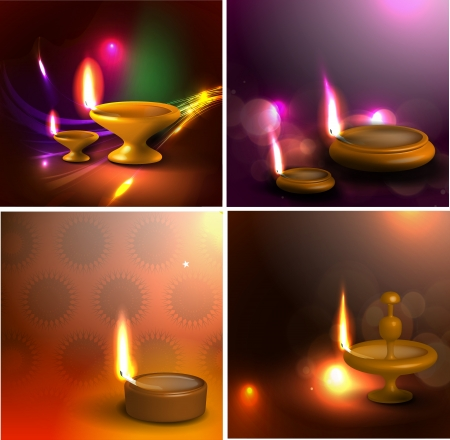 Set of 3d diya design for festival design card use.