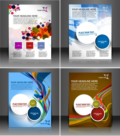 Set of presentation of flyer design content background.  Illustration