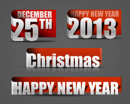 New year and Christmas label design for text project use. Stock Vector - 16107967