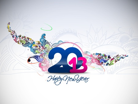 new year 2013 floral design element. Vector