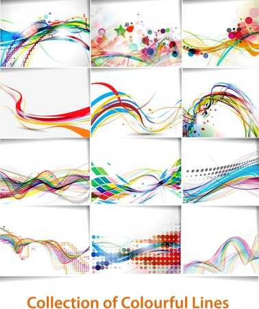 curve: set of abstract wave line poster with space of your text.  Illustration