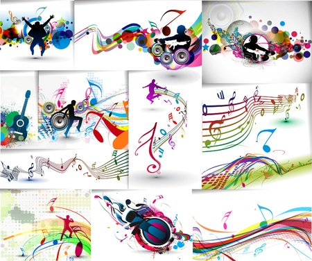 funky music: Set of Music dj concept poster template. Flyer with attractive element design.
