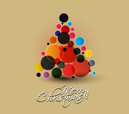 Modern christmas bubble tree background Vector