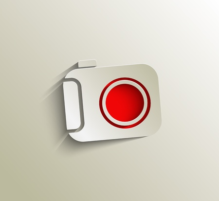 Camera Icon on white button original illustration.  Vector