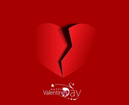 corazon roto: Papel roto el corazón sobre fondo rojo.