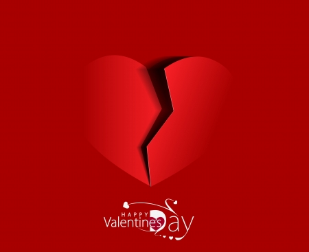 Paper broken heart on red background. Vector