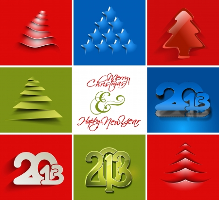 Set of Modern abstract christmas &amp, new year background Vector