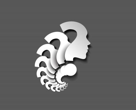 signo de admiracion: Rostro humano con ilustraci�n de signo de interrogaci�n sobre fondo blanco
