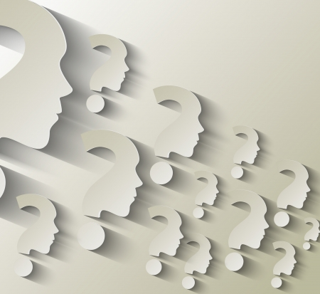 question marks:  Human face with question mark illustration on white background Illustration