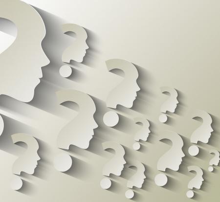 cerebro blanco y negro: Rostro humano con ilustración de signo de interrogación sobre fondo blanco