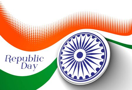 26th: India flag with Event Original design, vector illustration  Illustration