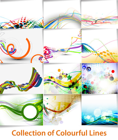 Set of abstract wave line poster with space of your text Vector