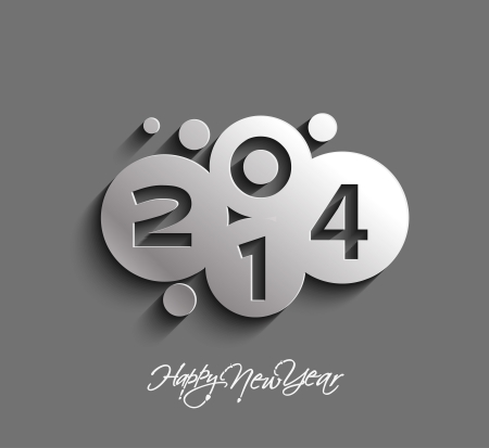 Happy new year 2014 Text Design Stock Vector - 24051992
