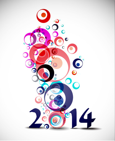 Happy New Year 2014 Circle Design  Vector