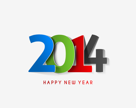 Happy New Year 2014 Text Design Stock Vector - 24052226