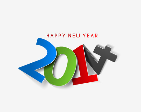 Happy New Year 2014 Text Design Stock Vector - 24052229