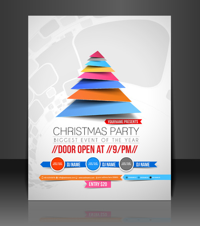 Christmas Party Flyer & Poster Cover Template Illustration