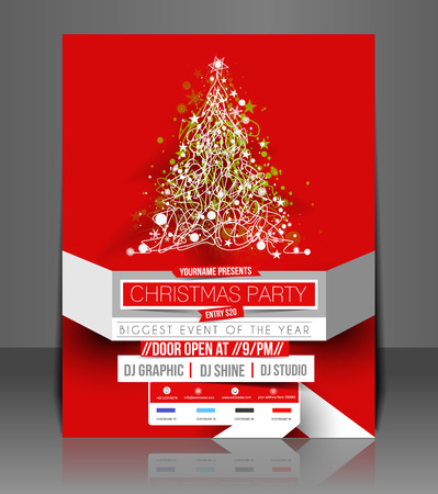 Christmas Party Flyer & Poster Cover Template Stock Vector - 24094937
