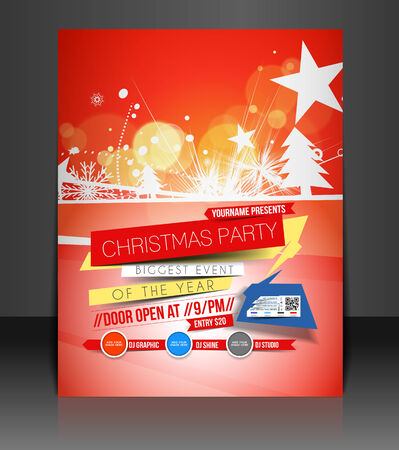 christmas music: Christmas Party Flyer & Poster Cover Template Illustration