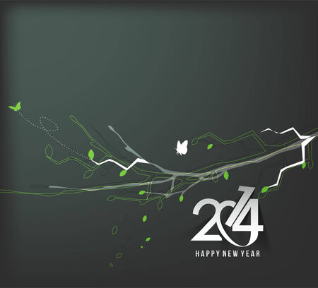 Happy New Year 2014 Floral Design. Vector