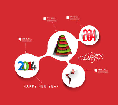 Christmas & New Year Time Line Background, Vector Illustration Vector