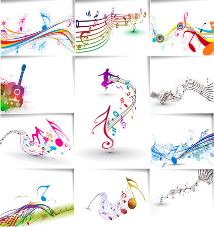 Music notes wave line for design use, vector illustration Illustration