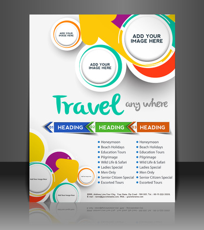 Travel Flyer, Magazine Cover & Poster Template  Vector