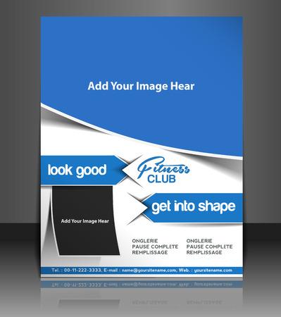 Fitness Center Fyer, Magazine Cover & Poster Template  Vector