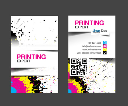 Cmyk printing business card set. Çizim