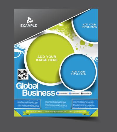 グローバル ビジネスのチラシ & ポスターのデザイン テンプレート  イラスト・ベクター素材