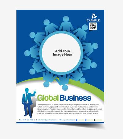 globális üzleti: Global Business Flyer & Poszter Sablon Design Illusztráció