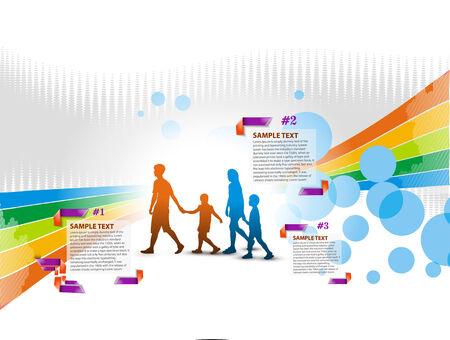 Advertising background with happy family people vector design.  Vector